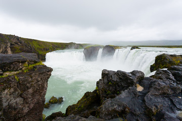 Godafoss falls in summer season view, Iceland