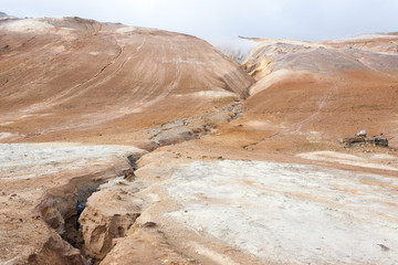 Hverir mud pools day view, Iceland landmark