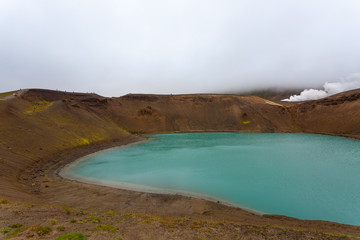 Viti crater with green water lake inside, Iceland
