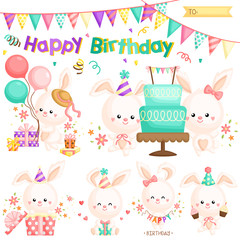 A Vector Set of Cute Little Bunny Celebrating Birthday with lots of Gifts and Cakes
