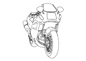 sketch sport motorcycle vector