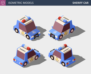 Isometric Blue Sheriff Car. Isometric High Quality Vector.