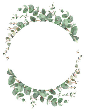 Eucalyptus circle frame composition