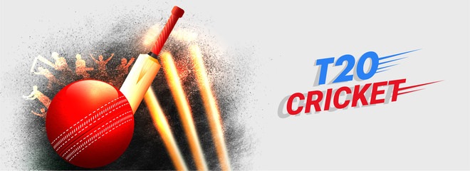 Vector illustration of cricket ball, bat with wicket stumps on grunge background for T20 Cricket header or banner design.