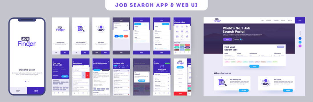 App ui kit for responsive mobile app or website with different application layout including sign up, job interview, working experience, user recruitment, getting work steps graphic instructions.