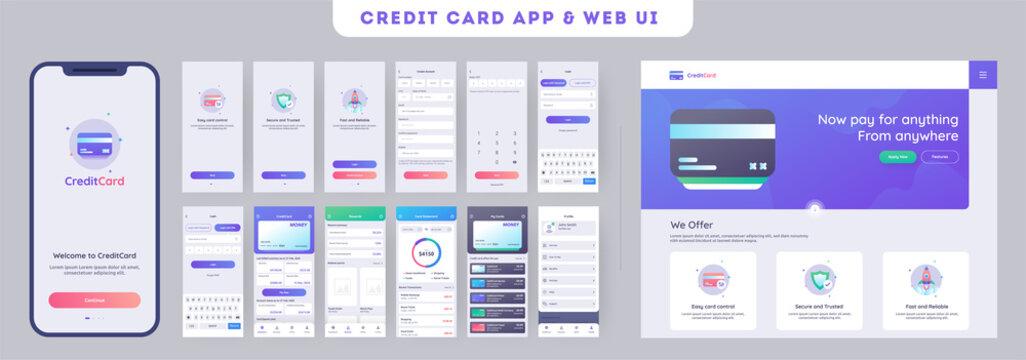 Online Payment or Credit cards app ui kit for responsive mobile app with website menu like as, credit cards uploading, saving, checking accounts and transaction confirmation.