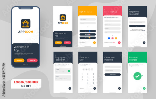 Set of Mobile Login screens with UI for applications