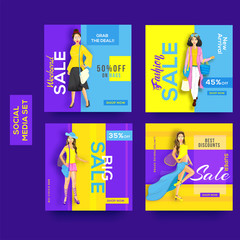 Various type of Sale template or poster design with different discount offers and beautiful women illustration.