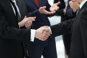 close up. reliable handshake of business people