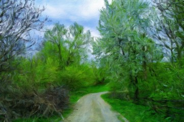 Oil digital paintings landscape, fine art, road in the forest