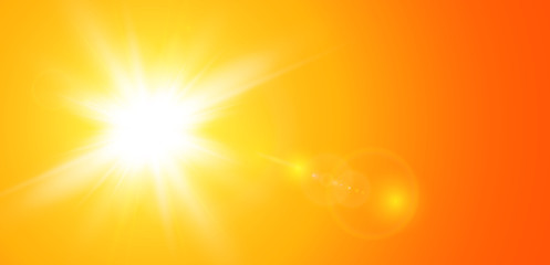 Sun with lens flare, vector nature background.