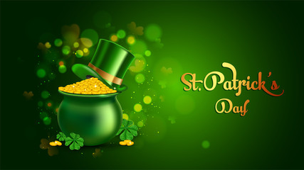 Vector illustration of cauldron full of gold coins on green bokeh background for St Patrick's Day poster or banner design.
