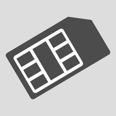 Sim card for mobile phone, cellphone isolated on background. Digital chip for connection, communication, 4g internet. Electronic equipment. Vector flat design