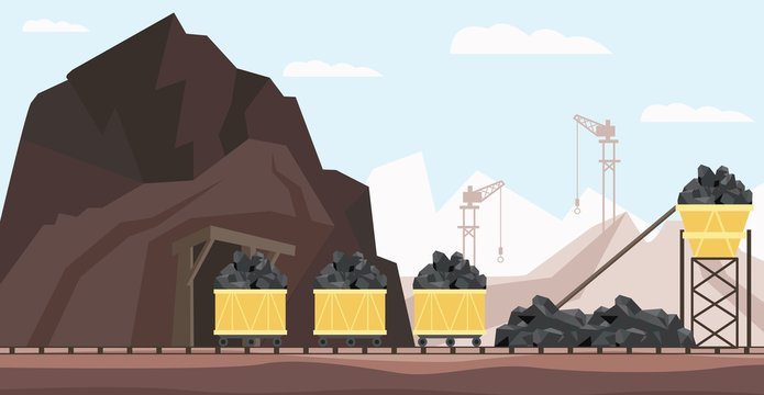 Coal mine industry and transportation vector illustration with piles of black mineral resource in minecarts.