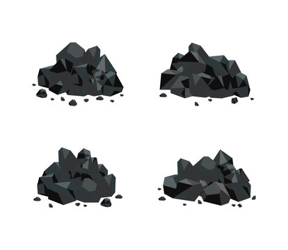 Vector illustration set of various piles of black coal isolated on white background.