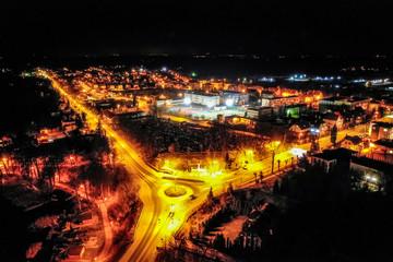 Aerial view of amazing illuminated city by night, Poland