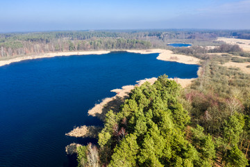Aerial view of wonderful lake and forest, Poland