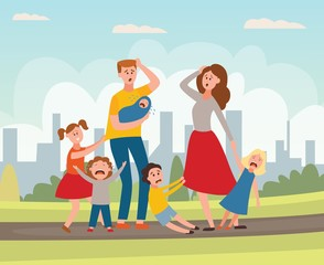 Vector parenting problem big family tired parents