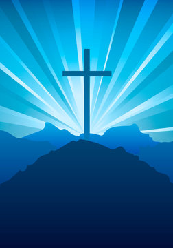 Religious Christian symbol of faith with cross and sky