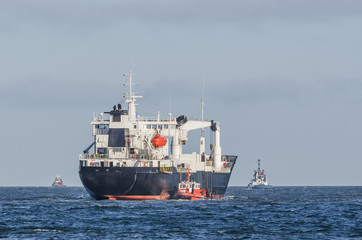 A REFRIGERATED VESSEL AT SEA -  Cargo ship on the waterway