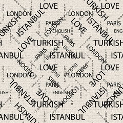 Seamless pattern made of handwritten text. English London Paris Turkish words and lettern written by hand in black and white colors.