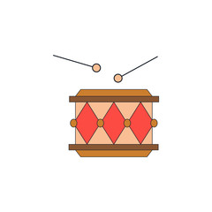 cartoon drum toy colored icon. Signs and symbols can be used for web, logo, mobile app, UI, UX