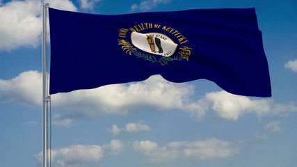 Kentucky State flag in wind against cloudy sky 3d rendering