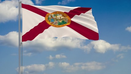 Florida State flag in wind against cloudy sky 3d rendering