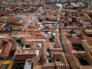 aerial of rooftops in Cuzco Peru