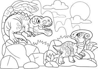 Cartoon cute dinosaurs coloring book, funny illustration