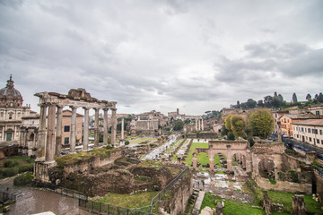 Rome, Italy - November, 2018: The Roman Forum beautiful representative picture of antique ruins. The historical center of the Forever City.