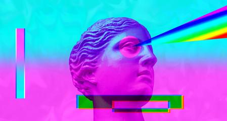 Purple pink antique sculpture on a retro vaporwave background. Contemporary art collage.