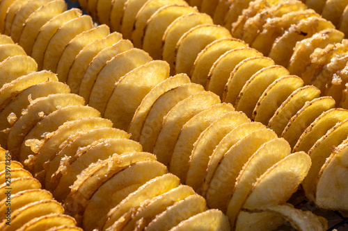 Unhealthy food, cooking potato chips, street food, a treat, frying