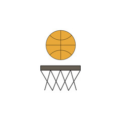 cartoon basketball toy colored icon. Signs and symbols can be used for web, logo, mobile app, UI, UX