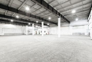 Interior of empty warehouse.