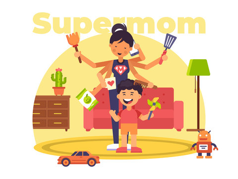 A colourful illustration of a supermom who has superpowers
