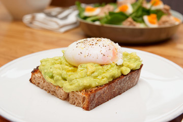 Puached egg, avocado and grilled bread