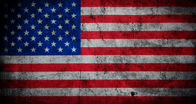 American flag with grunge texture.