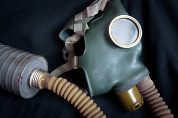 Old gas mask with filter