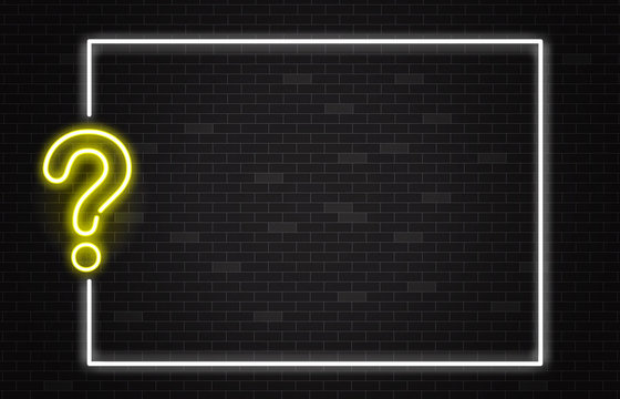 Quiz banner with yellow neon question mark in realistic style on dark brick wall background.