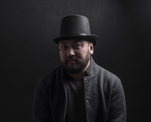 vintage portrait of a man in top hat