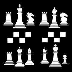 Set of chess club play icon white