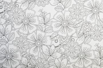 Arrière plan au motif floral noir et blanc