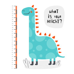 Kid height measurement, centimeter, chart with dinosaur for wall, room interior