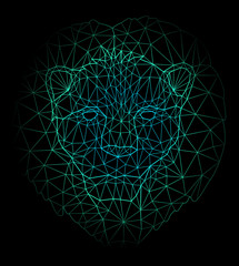 Blue low poly cosmic illustration with wild cat