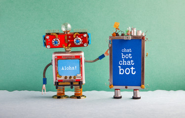 Chatbot artificial intelligence poster. Creative design red robot assistant and cellphone gadget with message Chat Bot on blue screen. Modern electronic marketing communication concept. Green wall