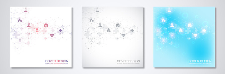 Square template brochure or cover with medical icons and symbols. Healthcare, science and innovation technology concept.