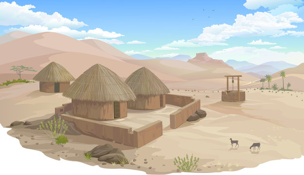A small village in the middle of a hot desert.