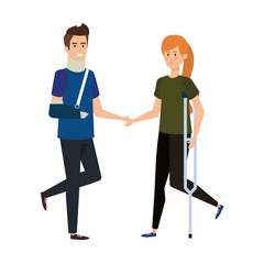 man with orthopedic collar and woman in crutch