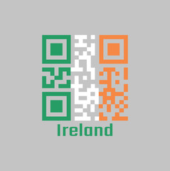 QR code set the color of Ireland flag. a vertical tricolor of green white and orange.